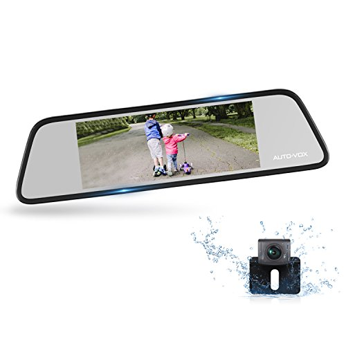 AUTO-VOX M8 Mirror Dash Cam Backup Camera Kit 180°Horizontal View Angle Back up Car Camera and 1296P Large Touch Screen with Lane Departure Warning System, Security Alarm & Motion (Gps Audio Kit)