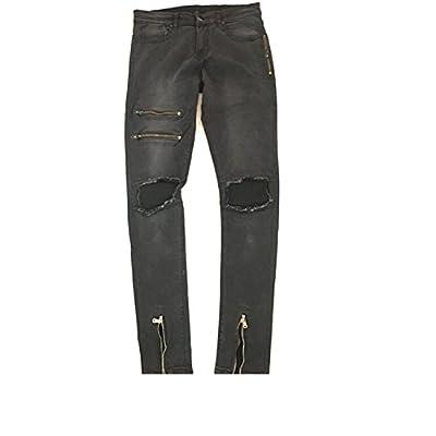 Coac3 Men's Slim Skinny Runway Straight Solid Denim Zipper Fly Pants Destroyed Ripped Jeans
