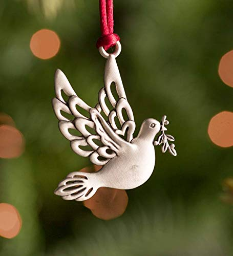 Plow & Hearth Solid Pewter Christmas Tree Ornament - Dove
