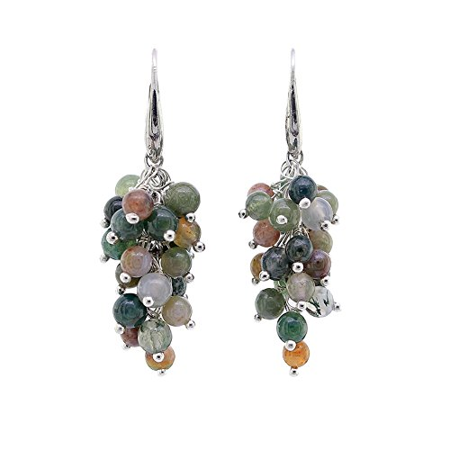 Handmade Natural Gemstone Wrapped Earrings, Fashion Semi Precious Stone Jewelry for Women (Fancy Agate)