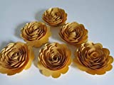 50th Anniversary Decorations, 6 Metallic Gold Roses, 3'' Big Paper Flowers Set, Golden Years Celebration Party, 100th Birthday Bash, Wedding Reception