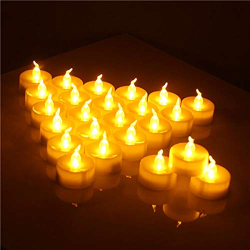 VMEKA Realistic Bright Flameless LED Tea Light Candles, Bright, Flickering, Battery Powered Fake Candles, Unscented Tealights, Pack of 24
