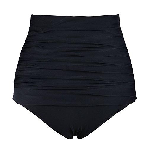 Firpearl Women's Bikini Bottom High Waist Ruched Overlay Tankini Swimsuit Bottom Brief