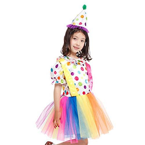 Dress Hat Set Clown Costumes Clowns Carnival Costumes Cosplay Dress for Girls 2PCS - -