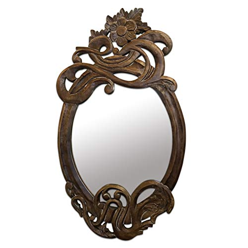 DecorShore Modernismo - 32 in x 18 in Antique Art Nouveau Style Hand Carved Mango Wood Decorative Wall Mirror (Ornamental Mirrors)
