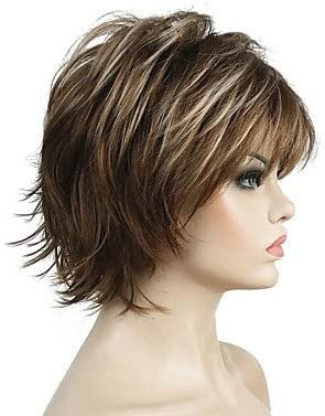 De la Mujer sintético peluca corto rizado luz marrón sintética ...