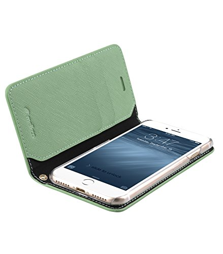 Melkco Fashion Cocktail Series slim Flip Case for Apple iPhone 7(4.7') (Light Green Cross pattern)_LF2231