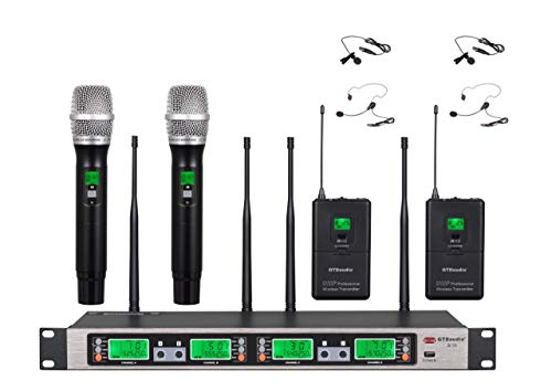 Selectable Frequency Channels 2 Hand-held Wireless 2 Lavalier Lapel Headset microphone 4 Mic System ()