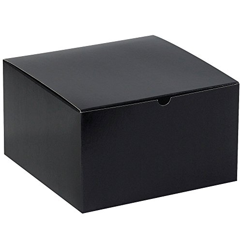 Aviditi GB101BK Fibreboard Gloss Gift Box, 10'' Length x 10'' Width x 6'' Height, Black (Case of 50) by Aviditi