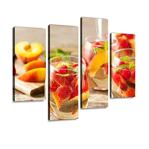 Canvas Wall Art Painting Pictures Homemade Sparkling White Wine Sangria Modern Artwork Framed Posters for Living Room Ready to Hang Home Decor 4PANEL