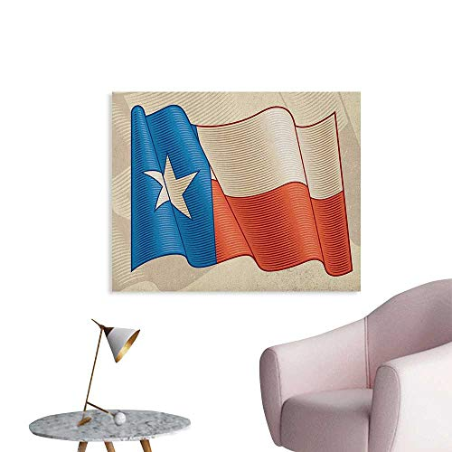 (Anzhutwelve Texas Star Photographic Wallpaper Flapping Texan Flag Lone Star Pattern with Retro Effect Americana The Office Poster Vermilion Beige Blue W36 xL24)