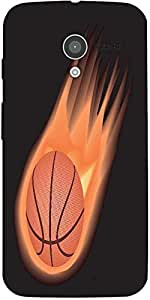 Snoogg Basketball Fire Designer Protective Back Case Cover For Moto-X