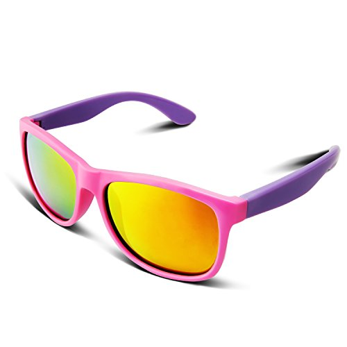 RIVBOS RBK023 Rubber Flexible Kids Polarized Sunglasses Glasses Age 3-10 (Pink Coating Lens)