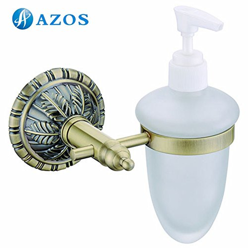 lovely AZOS Wall Mounted Bathroom Shower Soap Dispensers Bathroom Accessories Antique Brass Color GJKE9815C