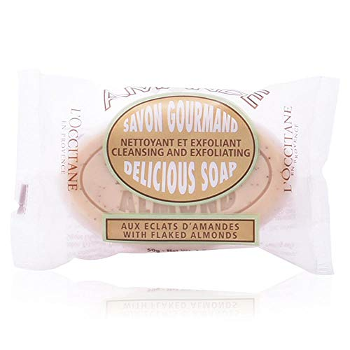 L'Occitane Exfoliating Almond Delicious Soap with Ground Almond Shells and Sweet Almond Oil, 1.7 oz.