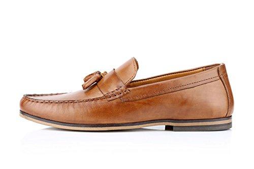 Ruban Rouge woodcroft Tassel Mocassins Casual chaussures pour homme en cuir marron clair Noir - - marron, 27