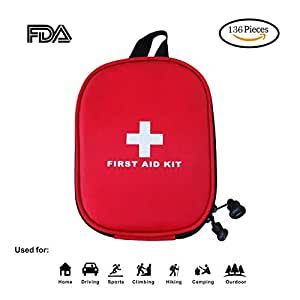 First Aid Kit - 136 Piece - for Car,Travel, Sports, Camping, Home,Hiking or Office | Complete Emergency Bag Fully stocked with Medical Supplies