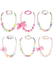 PinkSheep Beaded Necklace and Beads Bracelet for Kids, 6 Sets, Little Girls Jewelry Sets, Favors Bags for Girls