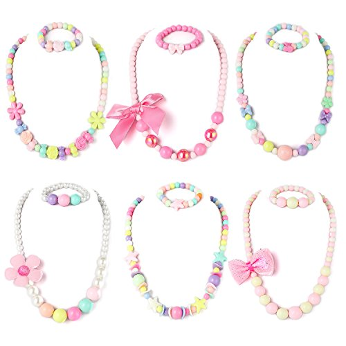 PinkSheep Beaded Necklace and Beads Bracelet for Kids, 6 Sets, Little Girls Jewelry Sets, Favors Bags for Girls (Big Beads)