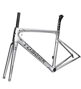Aon-MX Marco de Bicicleta de Carretera de Carbono Bicicleta 700C Cuadro de Carbono Tubo del Asiento Horquilla Delantera Accesorios de 44/49/52/54/56cm/bicicleta Marco Carretera,49cm(sendbowl)
