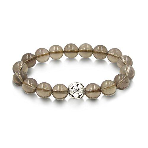 Agate Quartz Bracelet (Handmade 10mm Round Natural Semi PreciousGemstone Beaded Stretch Ornament Bracelets (Smoky Quartz & Hollow Bead))