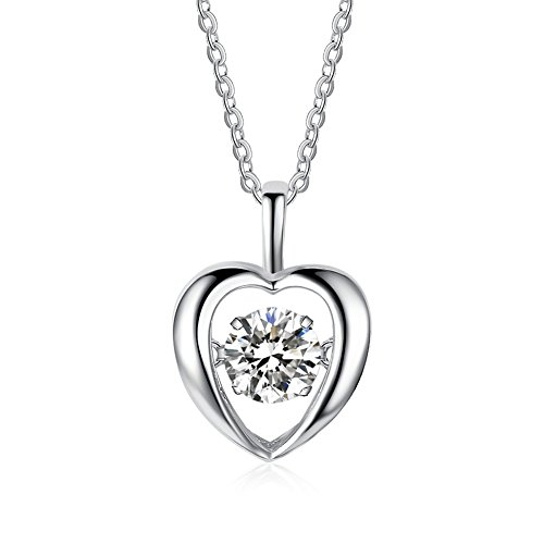 925 Sterling Silver Beating Heart Shape Charm CZ Pendant Necklace, Rolo Chain 16'' + 2''