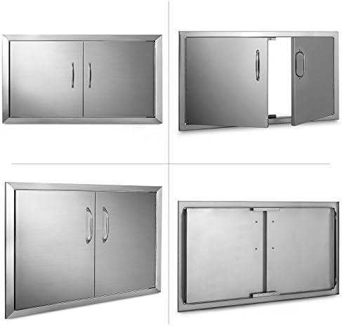 Olibelle - Puerta de Acceso Doble de Acero Inoxidable para Barbacoa, Montaje Empotrado para Cocina, Exterior e Isla, para Barbacoa de Uso Profesional al Aire Libre, 87, 6 x 48cm: Amazon.es: Jardín
