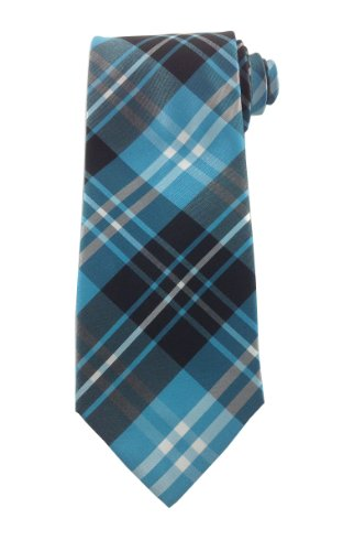 Mens Necktie Blue Teal Classic Fashion Design Plaid Tie