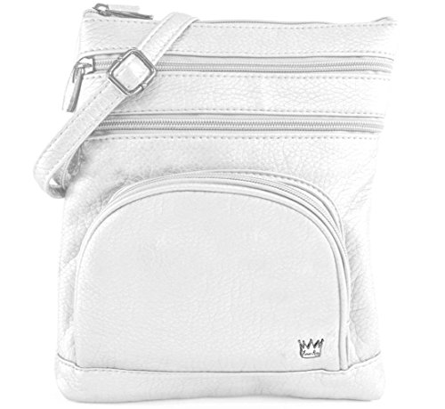 Leather French Classic Handbag (Purse King Duchess French Vanilla - White Cross Body Bag)