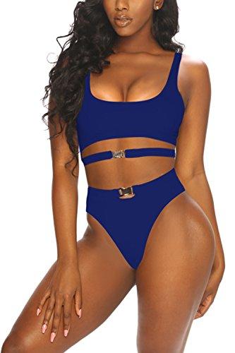 LaSuiveur Women's Push Up Crewneck Cheeky High Cut Bikini Swimsuits Blue L ()
