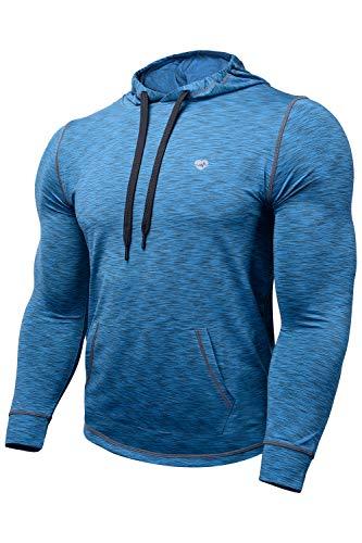 Zengjo Tech Hoodie Wicked Pullover Train Hoodie Men Space Dye Long Sleeve Hooded Shirt (XS, Blue & Grey)