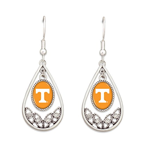 FTH Tennessee Volunteers Logo Silver Tone Tear Drop Hoop Earrings with Clear Rhinestones ()