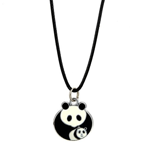 - LUREME Lovely Panda Necklace with Black Cord for Women and Girls-Panda Mom and Baby (nl005742-5)