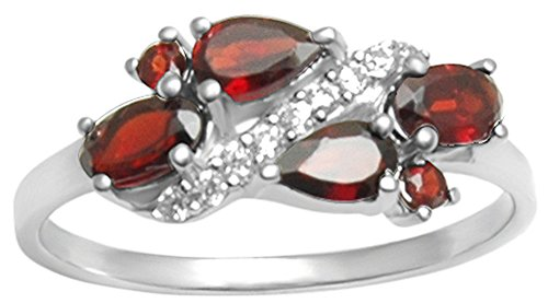 Banithani 925 Sterling Silver Garnet Stone Finger Ring Band Women Fashion Gift Jewelry - Garnet Sterling Silver Designer Ring