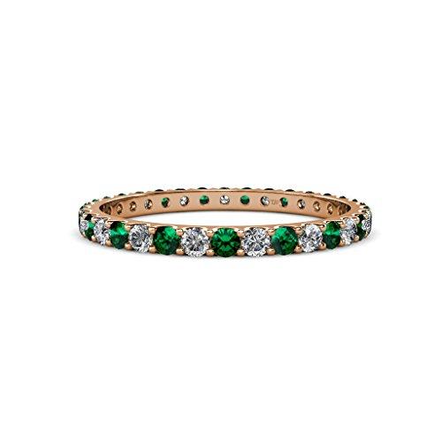 Emerald and Diamond U-Prong Eternity Band 0.77 ct tw to 0.89 ct tw in 14K Rose Gold.size 8.5 (Emerald Diamond 0.77 Ct Cut)