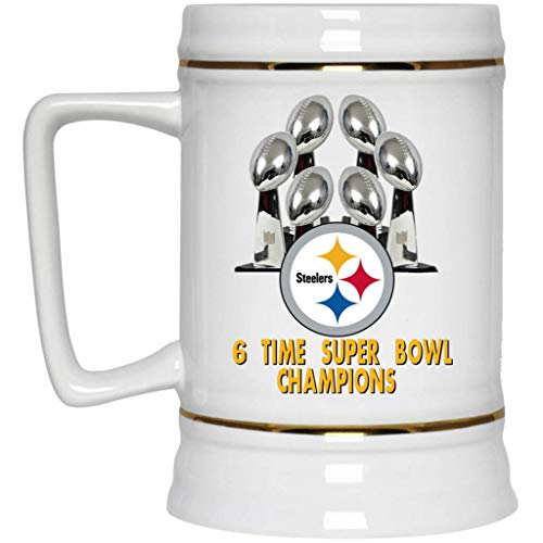 (Pittsburgh Steelers Beer Mug 6 Time Super Bowl Champions Steelers Logo Beer Mug 22 oz White Ceramic Beer Cup NFL AFC Perfect Gift for any Steelers Fan)