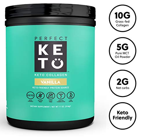 Perfect Keto Collagen Peptides Protein Powder with MCT Oil - Grassfed, GF, Multi Supplement, Best for Ketogenic Diets, Use in Coffee, Shakes for Women & Men - Vanilla