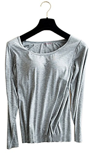 Foxexy Womens Modal Built-in Bra Padded Yoga Camisole Casual Long Sleeve T-Shirt