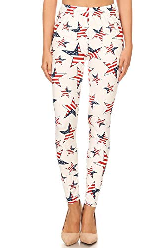 New Mix Patriotic USA American Flag Print High Waisted Leggings for Women (American Flag Stars, L/XL/2XL)