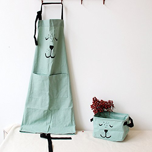 9OVE, Apron, Home Kitchen Tool, Parent-Child Cartoon Cookers Animal Print Cotton Linen - Green Adult ()