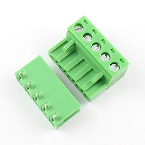 - DBParts 10 Sets 5-Pin (5 Pole) 5.08mm Pitch Angle Screw Terminal Block Connector Panel PCB Mount DIY