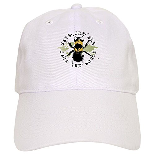 (CafePress Save The Bee. Baseball Cap with Adjustable Closure, Unique Printed Baseball Hat White )