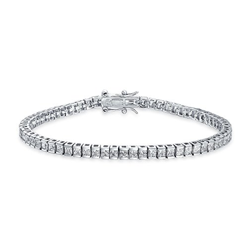 Channel Set Bracelet - Channel Set Square CZ Bridal Tennis Bracelet Classic Style 925 Sterling Silver 7.5 Inch Safety Clasp