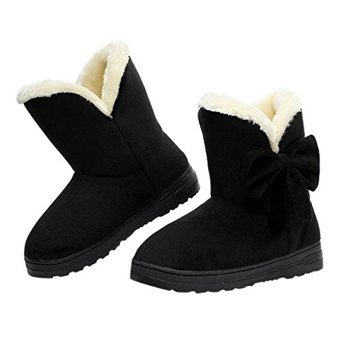 Dear Time Women Boots Solid Bowtie Slip-On Soft Cute with Round Toe Black US 5/US 5.5 - Cheap Moccasin Boots