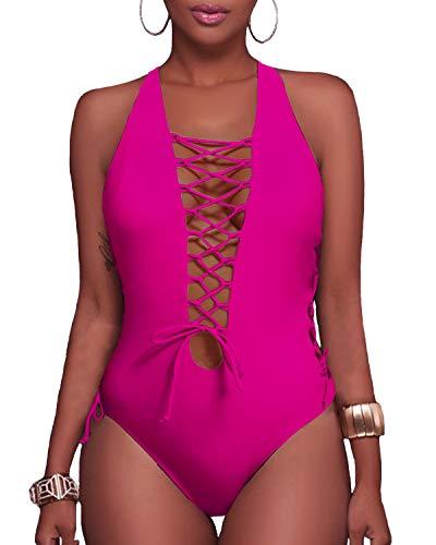 Holipick Women 1 Piece Sexy Lace up Racerback Monokini Plunge Deep V Neck High Leg Cutout Swimsuit Swimwear Rose Red ()