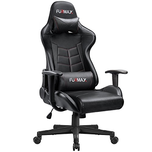Furmax Gaming Office Chair Ergonomic High-back Racing Style Adjustable Height Executive Computer Chair,PU Leather Swivel Desk Chair with Backrest and Lumbar Support (Black) by Furmax