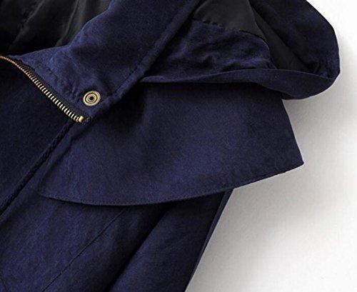 Sleeve Knit Navy Hooded Drawstrings TTYLLMAO Casual Batwing Jackets blue Womens ftqYX