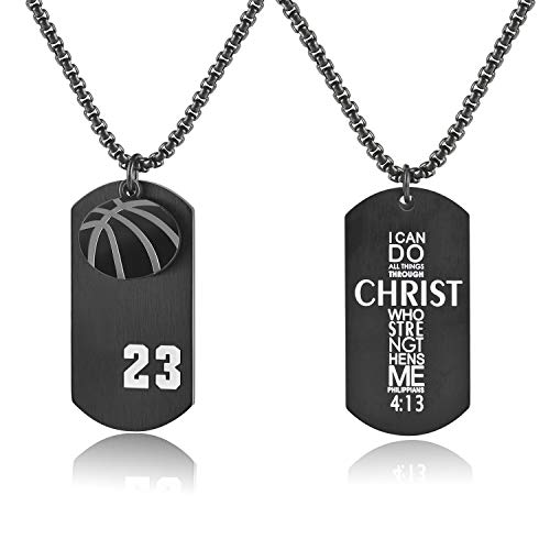 Godcow Men's Basketball Player 23 Stainless Steel Cross Pendant I Can Do All Things Bible Verse Necklace (Black) by Godcow