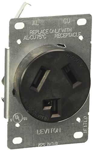 Leviton 5207-S10 30 Amp, 125/250 Volt, NEMA 10-30R, 3P, 3W, Flush Mtg Receptacle, Straight Blade, Industrial Grade, Non-grounding, AL-CU, Side Wired, Steel Strap - Black,