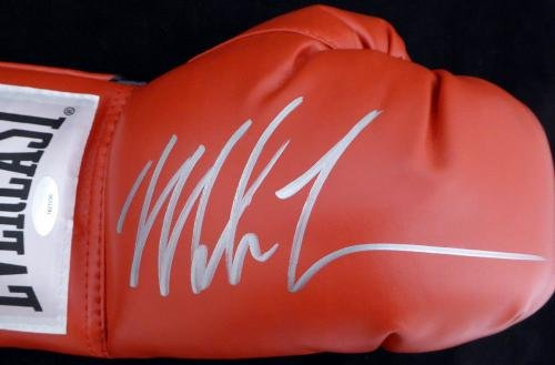Mike Tyson Autographed Red Everlast Boxing Glove RH Signed In Silver Stock #128295 Tristar Productions Certified